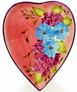 Pink Floral nut or candy Dish  Heart Shaped  Gates Ware - $38.45
