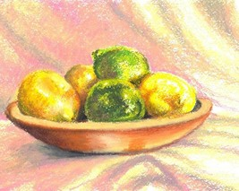 LEMONS, Original painting by Akimova, food, still life, fruit - $11.00