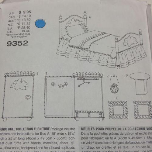 """Vogue Craft 9352 18"""" Doll Pattern Bedroom Furniture Bedspread  Linda Carr"""