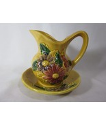 Vase with Plate Japan Yellow Vibrant Flowers - $19.79