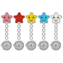Women Cartoon Sea Star Shape Smiley Face Nurse Watch Colorful Pocket Watch - $9.00