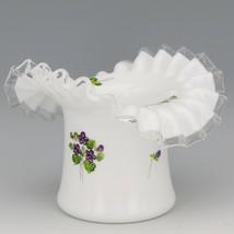 Vintage Fenton Art Glass Violets in the Snow Hat Vase Pre-Logo 1960s