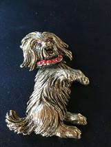 Vintage Large Antique Goldtone Begging Terrier Puppy Dog w Rhinestone Ey... - $16.69
