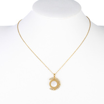 UE- Gold Tone Swarovski Style Crystal & Faux Mother of Pearl Pendant Necklace - $18.99