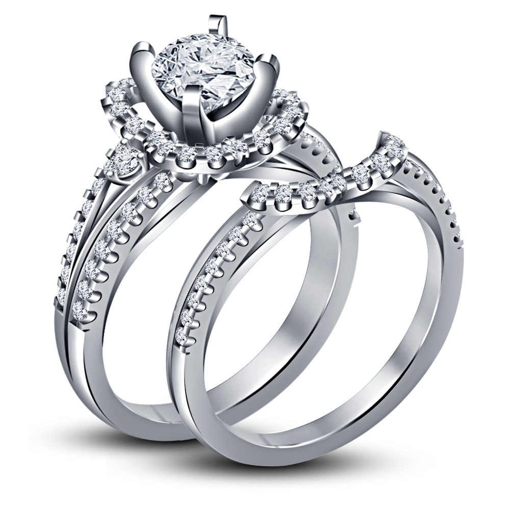 Primary image for 925 Sterling Silver 14k White Gold Finish Bridal Wedding Ring Set Round Cut CZ