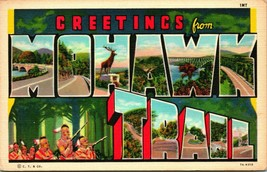 Vtg Linen Postcard Large Letter Greetings From Mohawk Trail NY Unused Curt Teich - $6.01