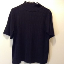 Sag Harbor Black Women's Short Sleeve Sweater Sz LG