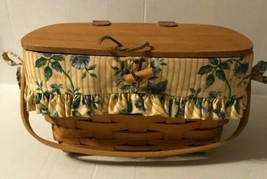 "Longaberger 1996 Picnic / Lidded Basket With Floral Liner 12"" X 6 "" X 8 - $39.59"