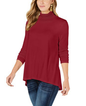 Style & Co Mock-Neck High-Low Top (Red, XL) - $22.69