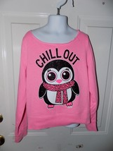 JUSTICE CHILL OUT PENGUIN PINK LONG SLEEVE SWEATSHIRT SIZE 8 GIRL'S NWOT - $16.38