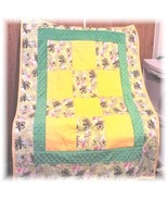 Tinkerbell All Flannel Fabric Patchwork Baby/Toddler Quilt   - $55.00