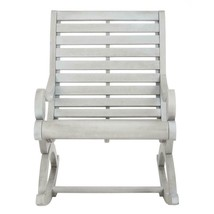 Outdoor Rocking Chair Gray Finish Wood Comfort Back Support Elegant Vers... - $332.73