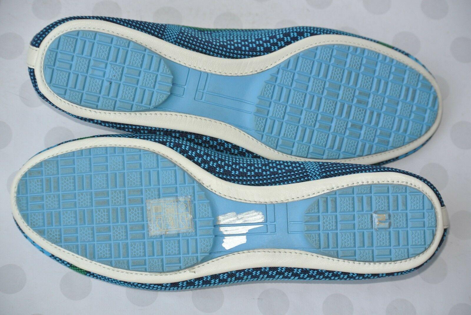 Tory Burch Sport Womens Sz 7 M Blue & Green Knit Textile Ballet Flats NICE!
