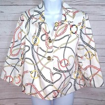 Sag Harbor Petite Jacket Sz PM  3/4 Sleeve Multi Color Chain Career Gold... - $11.88