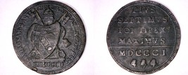 1801-R Italian States Papal States 1 Baiocco World Coin - Pius VII - $64.99