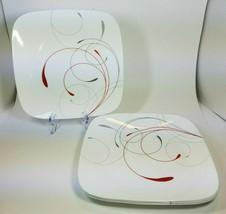 Corelle Splendor Square Dinner Plates 10.25 inch White Red Grey Swirls ... - $17.77