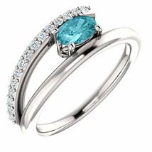 Zircon & 1/8 CTW Diamond Bypass Ring In Platinum - $1,090.00