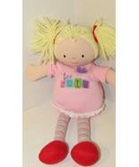 Soft toy blonde yarn hair plush rag doll girl too cute flower pink strip... - $13.36