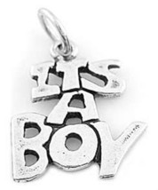 """Sterling Silver Solid """"It's A Boy"""" Charm Or Pendant - $9.10"""