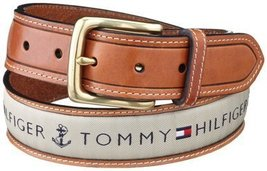 Tommy Hilfiger Men's Leather Casual Belt with Fabric Inlay, 44