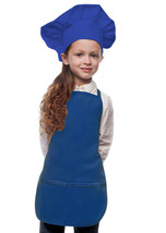 Royal Blue Kids Apron & Chef Hat Set High Quality Poly/Cotton Twill Fabric - $29.99