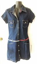 VTG Vintage Womens Tommy Hilfiger Jeans Denim Button Front Shirt Dress Large L - $79.99