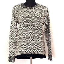 Ann Taylor Sweater M Chunky Black White Nordic Zigzag High Low Hem Wool ... - $26.99
