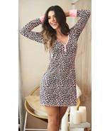 Mapale Pink Leopard Long Sleeve Nightgown Pajama Lounge Sleepwear 7263 - $31.99+