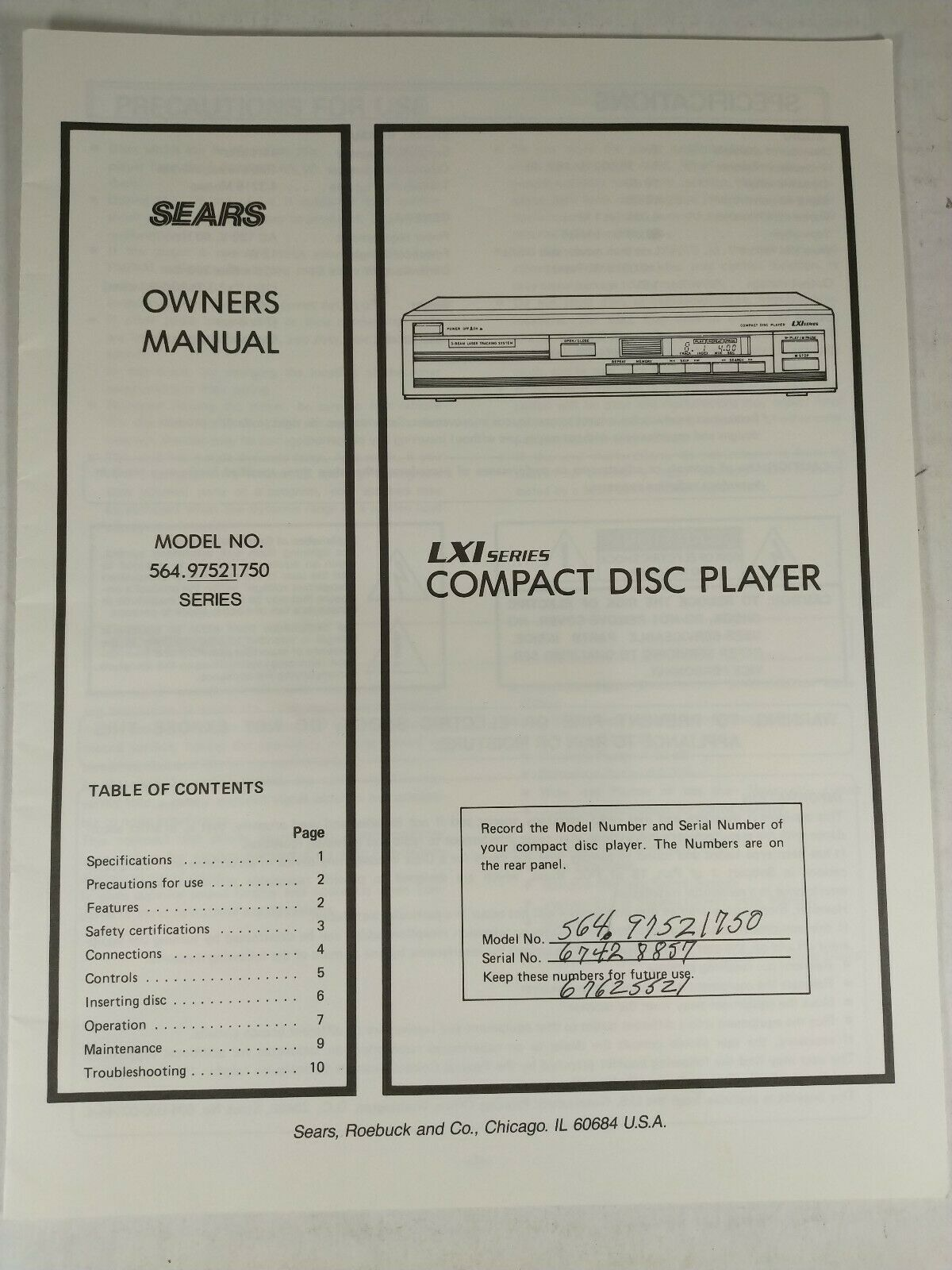 Sears LXI Series CD Player Model 564.97521750 Owners Manual - $9.95