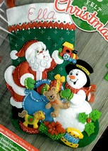 Bucilla Santa & Snowman Christmas Eve Bear Train Toys Felt Stocking Kit 86658 - $39.95
