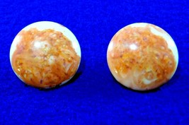 Vintage Earrings - Terracotta & Cream Lucite - Gold Filled 1/20 12K GF- Clip on  - $9.50