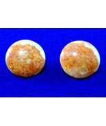 Vintage Earrings - Terracotta & Cream Lucite - Gold Filled 1/20 12K GF- ... - $9.50