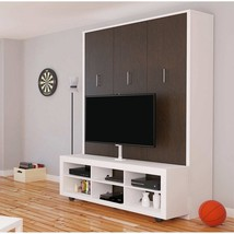 Alexa Queen Wall Bed with TV Stand | White & American Oak - £1,793.59 GBP