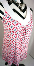 Tommy Hilfiger Top XS Size Xsmall White Blue Red Tank Womens Shirt Blouse - $14.03