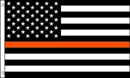AMERICAN BLACK WHITE THIN ORANGE LINE 3 X 5 FLAG FL740 banner search res... - $6.27