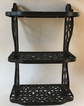 VTG HOMCO HOME INTERIOR BLACK PLASTIC FILIGREE WALL 3 SHELF BATHROOM SHOWER - $19.79
