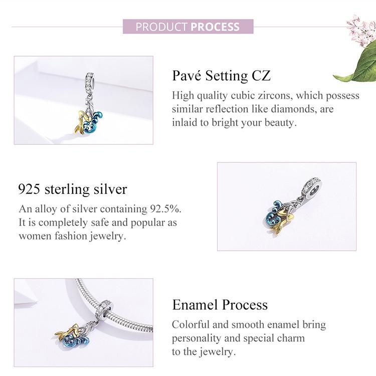 Mermaid Silver Charm Genuine 925 Sterling Silver Pendant Fits Pandora Bracelet image 6