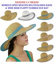 C.C Women's Open Weaved Multicolored Band and Wide Brim Floppy Summer CC... - $17.99