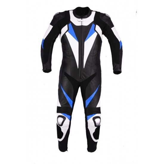 New Men,s Black Blue White Color Motorcycle Leather Suit Leather Jacket and Pant for sale  USA