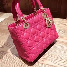 AUTH Christian Dior Lady Dior Medium Fuchsia Pink Cannage Lambskin Tote Bag  image 2