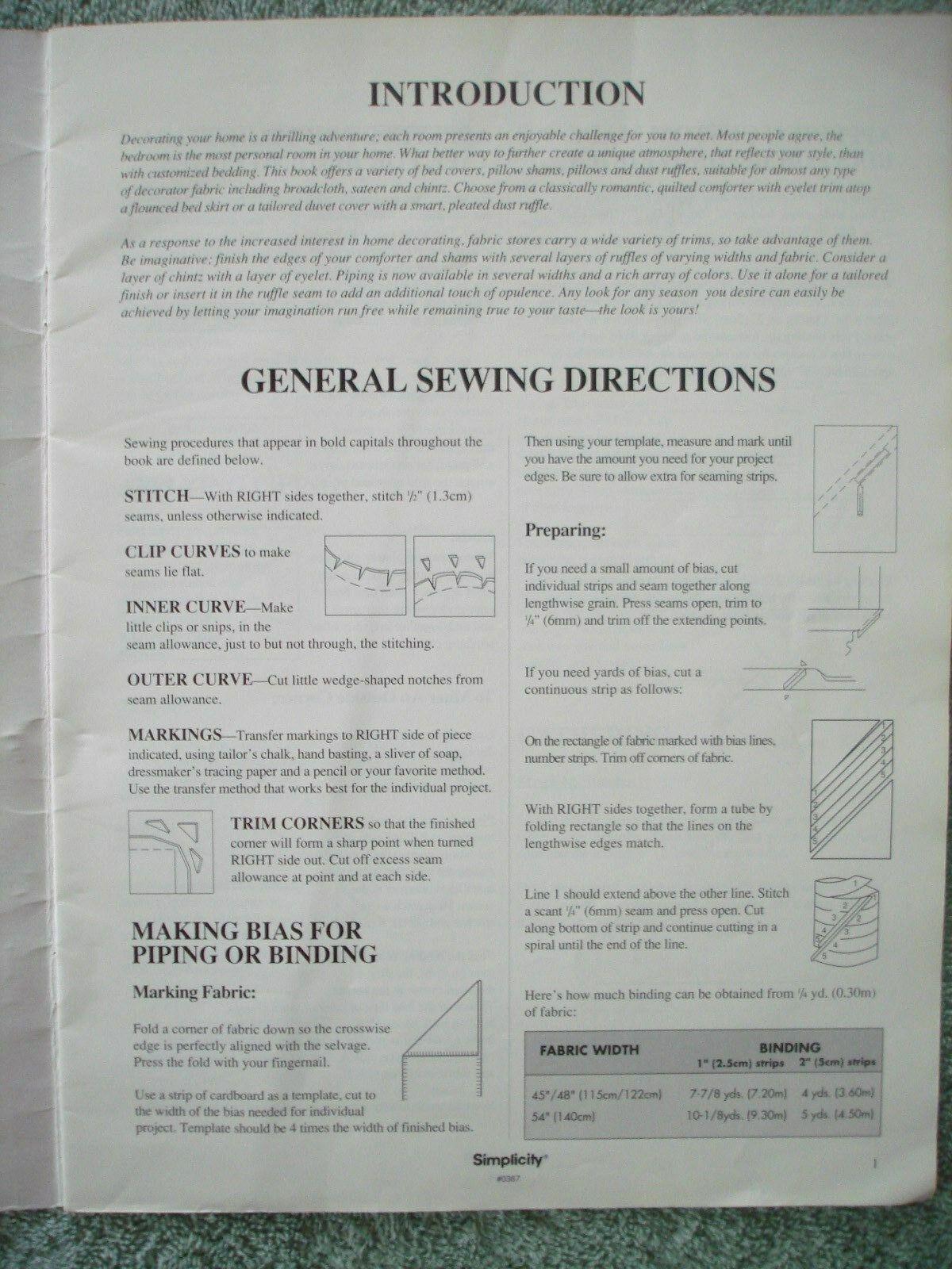 Vtg 1993 Simplicity DECOR Bedding Basics Instructional Pillows Comforters Duvets image 4