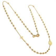 Halskette Rosenkranz Gelbgold 750 18K, Medaille Ideales Überqueren, Kuge... - $740.71