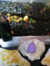 Natural Healing Druzy Quartz Necklace Purple, Gold tone Women or Men  - $11.87