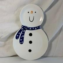 Snowman Plate Christmas Department 56 Snack Blue Milk Cookie Santa Preowned - $4.94