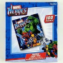 "100 Piece Jigsaw Puzzle Marvel Heroes Hulk Spiderman Wolverine 9"" x 10.4... - $5.99"