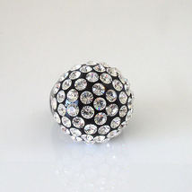 Luna Bianca By Pinky Black Acrylic Domed Ring Clear Swarovski Crystals On Dome image 5