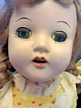 "Vintage 19"" Hard Plastic Doll with Teeth Open Close Eye's 1950s Dress - $48.37"