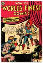 WORLD'S FINEST #73 1954-Superman Batman-Green Arrow Golden age DC comic - $357.69