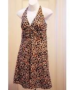 H&M 8 Dress Halter Black Brown White Animal Print Babydoll Sundress NEW - $19.58