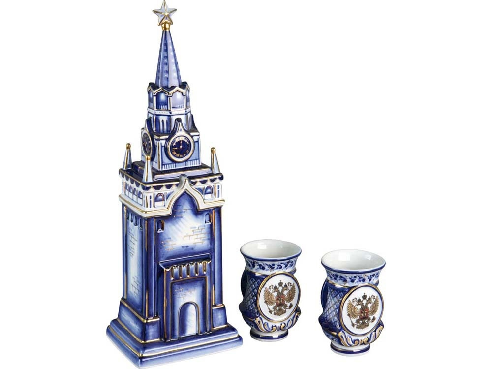 """Russian souvenir  The set of """"the Kremlin"""": a bottle of vodka with two glasses"""